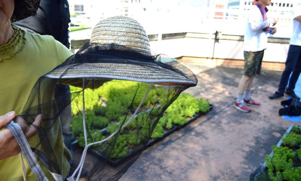 網をかけた麦わら帽子